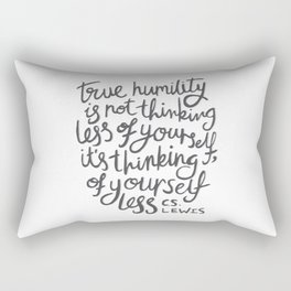 True Humility CS Lewis Quote - Hand Lettering Grey Rectangular Pillow