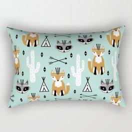 Fox and raccoon cute kids pattern teepee arrows southwest animals girls and boys decor Rectangular Pillow