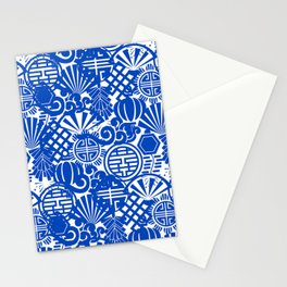 Chinese Symbols in Blue Porcelain Stationery Cards