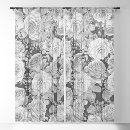 ROSES ON DARK BACKGROUND Sheer Curtain