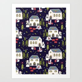 Christmas Cats Village Festive Seamless Vector Pattern, Drawn Present Boxes Art Print