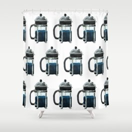 French Press - Blue Shower Curtain