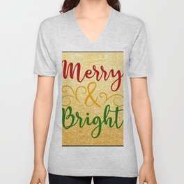 Merry and Bright Christmas Unisex V-Neck