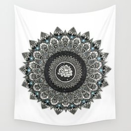 Black and White Flower Mandala with Blue Jewels Wall Tapestry