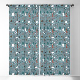 Blue Science and Math Icons Blackout Curtain