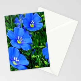 Dainty Blue Flax Linum Flowers Stationery Cards