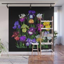 Iris Garden - on black Wall Mural