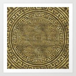 Circular Greek Meander Pattern - Greek Key Ornament Art Print