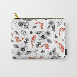 Colorful orange black white watercolor floral koi fish Carry-All Pouch