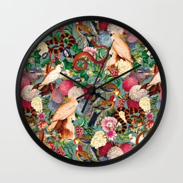 Floral and Animals pattern Wall Clock