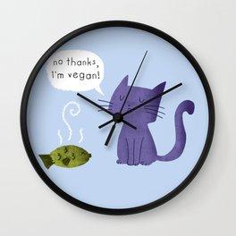 No thanks, I'm vegan (cat) Wall Clock