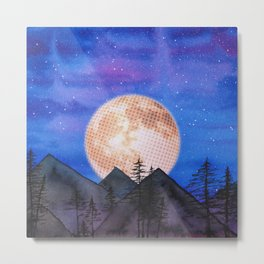 Moon over the mountains Metal Print