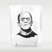 frank Shower Curtains featuring Frank by Aleishajune