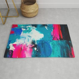 Look on the bright side | neon pink blue brushstrokes abstract acrylic painting Rug