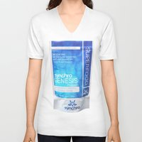 bag V-neck T-shirts featuring bag by Synchro