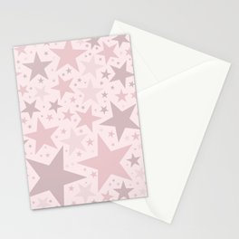 Popping Pink Pastel Stars Stationery Cards