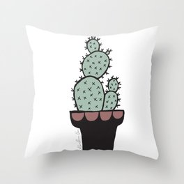 Cactus and Aloe Vera on pink Throw Pillow