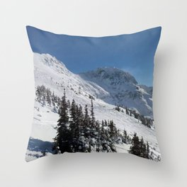 Mountains color palette of white-black-blue Throw Pillow