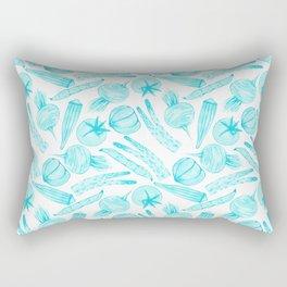 Blue Vegetables Rectangular Pillow