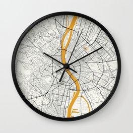 Budapest map Wall Clock