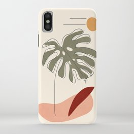 Minimal Line Monstera iPhone Case