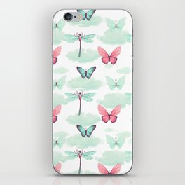 Pink teal watercolor clouds dragonfly butterfly pattern iPhone Skin