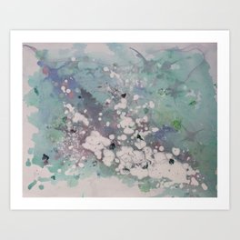 Clouded Mind (Abstract Acrylic White Blotchy Painting) Art Print