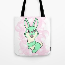 Green kitsch bunny rabbit Tote Bag