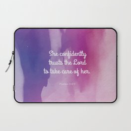 She confidently trusts the Lord to take care of her Laptop Sleeve