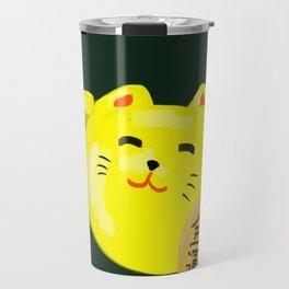 Neko Cat Yellow Travel Mug