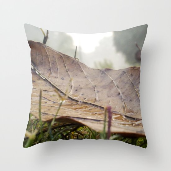 Dew drops on a fallen leaf Throw Pillow