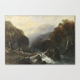 Hobart Town Rivulet and Mount Wellington by John Skinner Prout (1847) Canvas Print