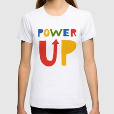 Power Up LARGE Ash Grey Womens Fitted Tee