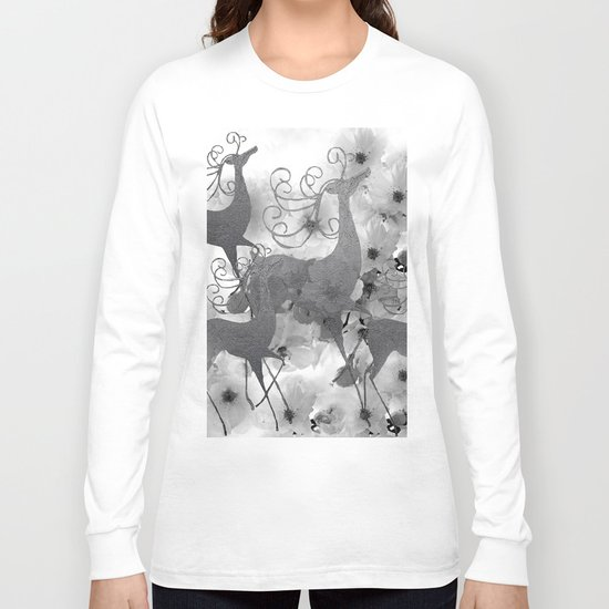 REINDEER AND FLOWERS Long Sleeve T-shirt