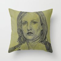 scully Throw Pillows featuring Scully by Jenn