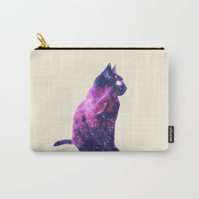 Whimsical Purple Nebula Cat Pink Galaxy Stars Carry-All Pouch