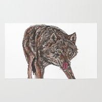 bad wolf Area & Throw Rugs featuring Big bad wolf by Meredith Mackworth-Praed