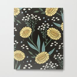 Yellow Dadylion Flowers - Black backgrund Metal Print