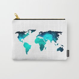 World Map Space Galaxy Stars in Turquoise Carry-All Pouch
