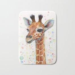 Giraffe Baby Watercolor Bath Mat