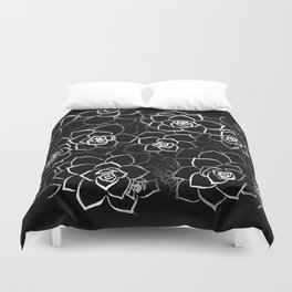 White ink. graphic with white ink and black cardboard. flowers Duvet Cover