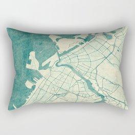 Dubai Map Blue Vintage Rectangular Pillow