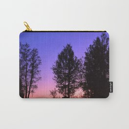 Nightfall. Purple and pink sky in the forest after sunset. Carry-All Pouch