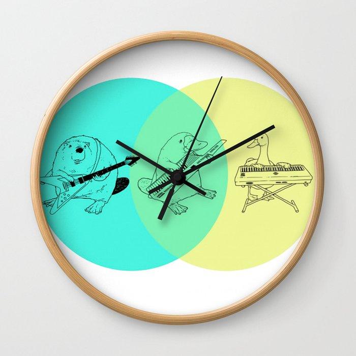 Keytar Platypus Venn Diagram Wall Clock