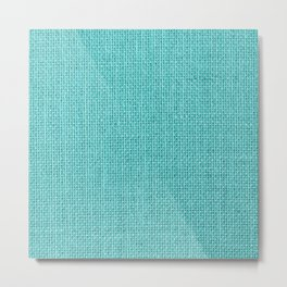Natural Woven Aqua Blue Burlap Sack Cloth Metal Print