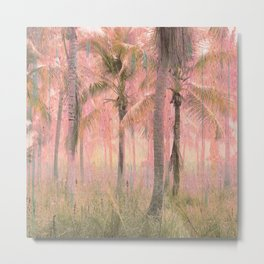 Retro Glitch Boho Tropical Ancient Palm Forest Metal Print