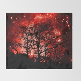 black trees red space Throw Blanket