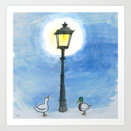 Ducks and Street Lamp Art Print