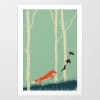 Fox Chasing Birds Art Print