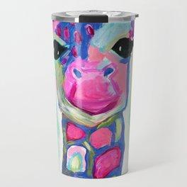 Giraffe Painting, Colorful Blue Giraffe, Magenta Green Blue Giraffe Travel Mug